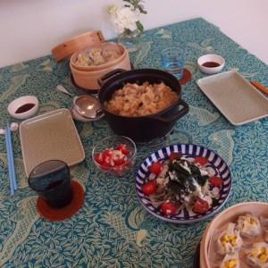 中華おこわ,塩麹入りキャベツたっぷりシュウマイ,豆乳プリン,海藻サラダ